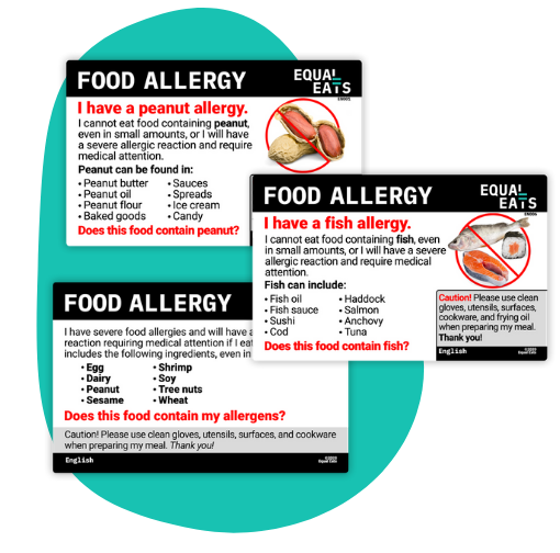 food allergy translations cards from equal eats