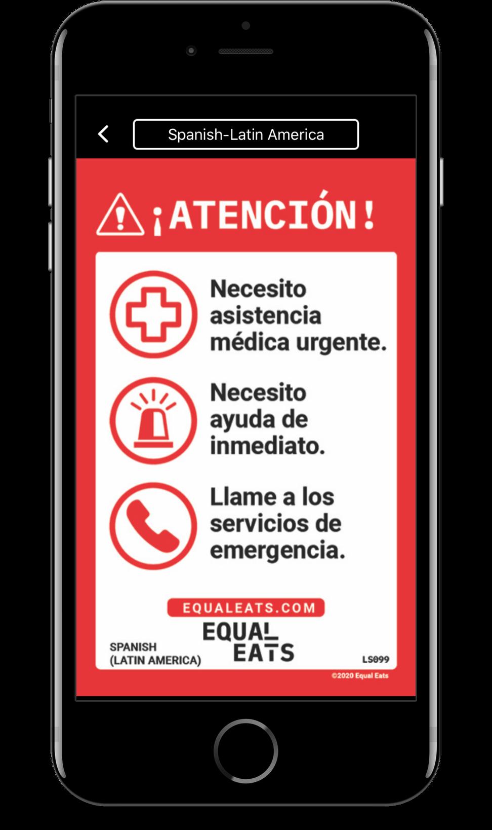 spanish food allergy translations