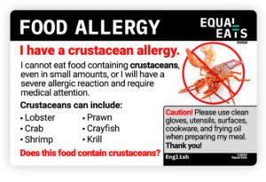 equal eats food allergy translation card